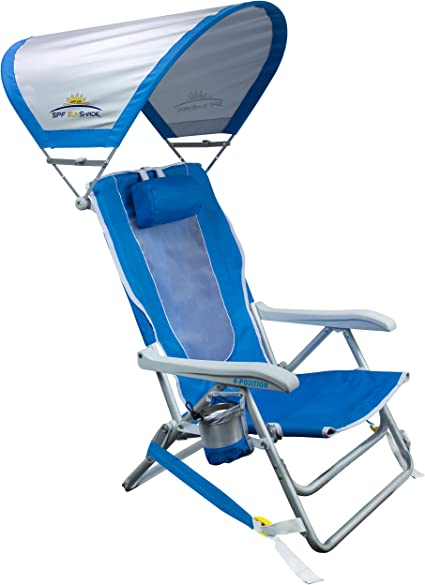 Amazon.com : GCI Outdoor Waterside Reclining Portable Backpack Beach Chair  with Sunshade : Sports & Outdoors