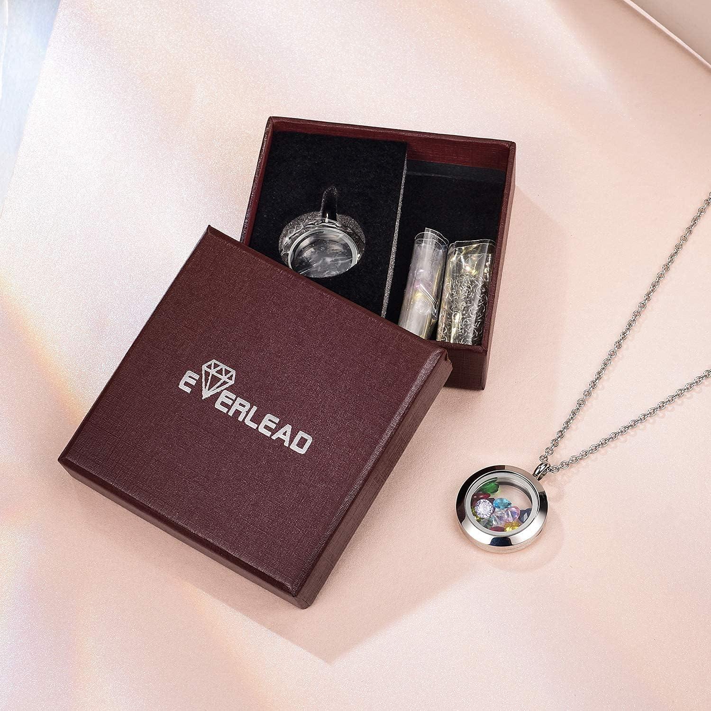 EVERLEAD Locket Necklace, DIY Floating Round Locket Pendant, Living Floating Memory Necklace for Women Friendship Necklace Memory Nostalgic
