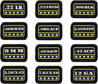 Raiseek 9mm .40 .45 .380 12GA 7.62 .223 5.56 .30 .22 Military Tactical Morale Patch Hook and Loop Fastener Backing Decorative Patch Variety