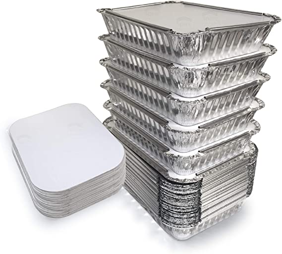 55 Pack - 2.25 LB Aluminum Pan/Containers with Lids/To Go Containers/Aluminum Pans with Lids/Take Out Containers/Aluminum Foil Food Containers From Spare - 2.25Lb Capacity 8.7
