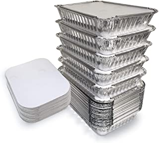 55 Pack – 2.25 LB Aluminum Pan/Containers with Lids/To Go Containers/Aluminum Pans..