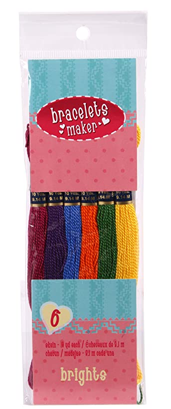 Darice 6 Piece Craft Thread Bracelet Maker, Bright