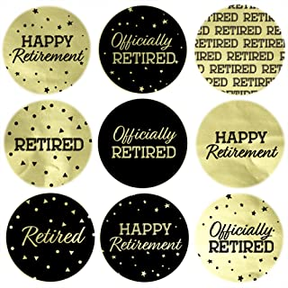 Black and Gold Retirement Party Favor Labels - Shiny Foil - 180 Stickers