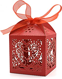 KEIVA 100 Pack Love Heart Laser Cut Wedding Party Favor Box Candy Bag Chocolate Gift Boxes Bridal Birthday Shower Bomboniere with Ribbons (Red, 100)