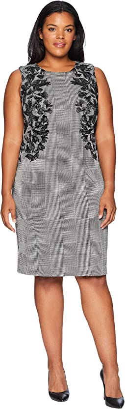 Plus Size Sheath with Leaf Applique