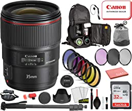 $1649 » Canon EF 35mm f/1.4L II USM Lens USA (9523B002) Bundle with Professional Bundle Package Deal Kit for Canon EOS Includes: DSLR Sling Backpack, 9PC Filter Kit, Sandisk 32GB SD + More