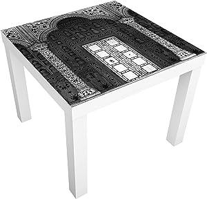 Bilderwelten Table Basse Design - White Door - 55x55x45cm, Couleur de la Table: Table de Noir, Dimension: 55 x 55 x 45cm