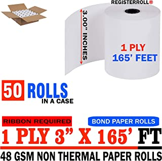 RegisterRoll Kitchen Printer Paper Rolls, 3 Inch x 165 Feet, 50 Rolls per Carton - Premium Quality 1-Ply Kitchen Printer Paper Bond Made in Mexico