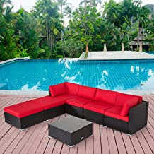 Kinbor 7PC Outdoor Sectional Sofa Set Rattan Wicker Patio Furniture Sofa with Washable Cushions & Modern Coffee Table Glass Top (Red)