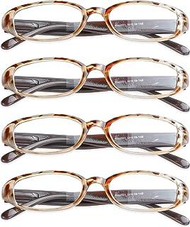 4 Pairs Reading Glasses with Spring Hinge, Blue Light Blocking Glasses for Women/Men(Tortoise,+5.50 Magnification)