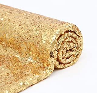 B-COOL Sequined Fabric Fabric Cloth for Backdrop Fabric Gold Sequin Sequin Fabric Yard for Gold and Black Weeding Backdrops Decor