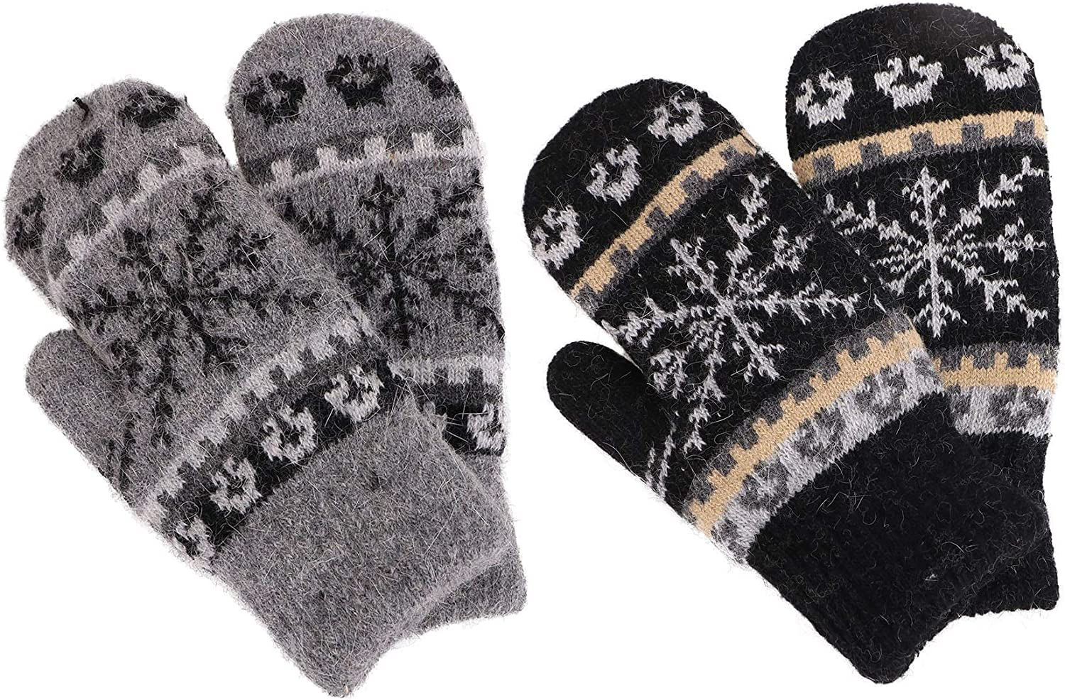 Women's Winter Fair Isle Knit Sherpa Lined Mittens  Set of 2 Pairs