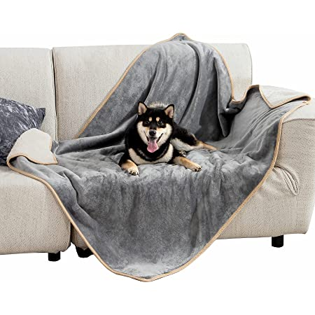 Bedsure Waterproof Dog Blankets for Small Medium Large Dogs - Washable Cat Blanket for Couch, Car, Sofa Chair, Bed - Sherpa Fleece Dog Blanket, Soft Plush Reversible Throw Furniture Protector