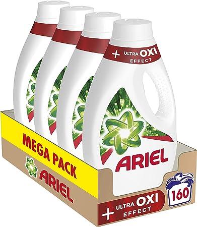 TALLA 160 Lavados. Ariel Detergente Lavadora Líquido, 160 Lavados (Pack de 4 x 40), Ultra Oxi Efecto Quitamanchas