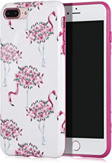 SunshineCases【Pink Flamingo Floral】 Flexible, Thin, Non-Slip Case Design【Compatible: Apple iPhone 8 Plus & iPhone 7 Plus】