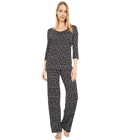 HUE Snoozy Cat Rayon PJ Set (Black) Women