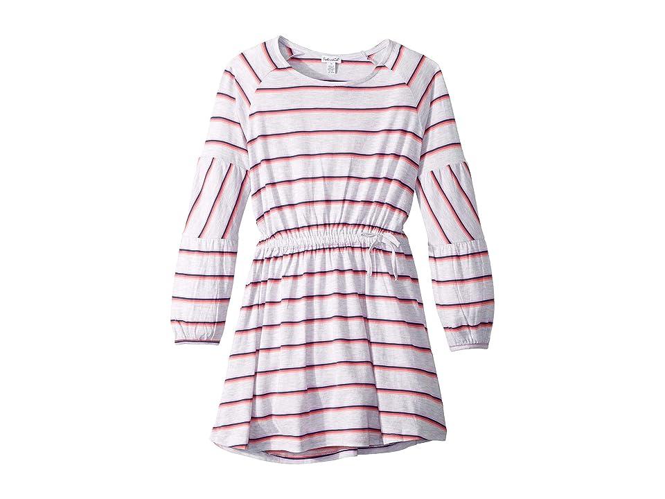 Splendid Littles Heather Stripe Dress (Big Kids) (Ice Gray Heather) Girl