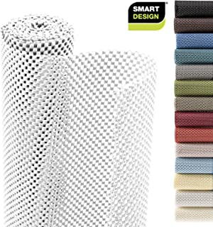Smart Design Shelf Liner w/Premium Grip - Wipes Clean - Cutable Material - Non Slip Design - for Shelves, Drawers, Flat Surfaces - Kitchen (18 Inch x 8 Feet) [White]
