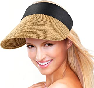 Women Visor Hats Wide Brim Straw Sun Caps Foldable Summer UV Protection Beach Hat Adjustable Roll-Up Golf Sports Cap
