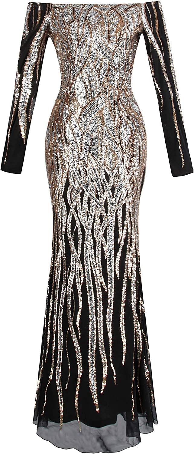 Angelfashions Women's Boat Neck Long Sleeve Sequins Flapper Ball Gown