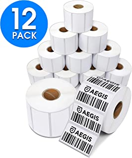"Aegis Adhesives - 2 ¼"" X 1 ¼"" Direct Thermal Labels for UPC Barcodes, Address, Perforated & Compatible with Rollo Label Printer & Zebra Desktop Printers (12 Rolls, 1000/Roll)"
