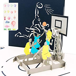 Ribbli Basketball 3D Pop Up Card,Greeting Card,Thank You Card,Anniversary Card,Sport, For Birthday,Father's Day,Mother's Day,Valentine's Day,Wedding,Graduation,Thanksgiving,Christmas,Any Occasion