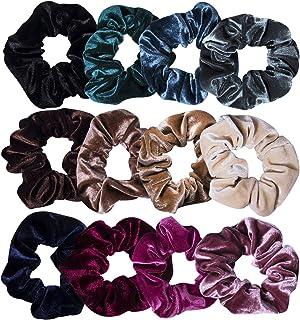 12 Pcs Hair Scrunchies Velvet Elastic Hair Bands Scrunchy Hair Ties Ropes Scrunchie for Women or Girls Hair Accessories - 12 Assorted Colors Scrunchies