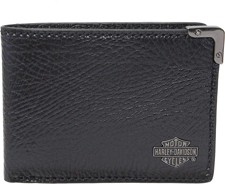 Harley-Davidson Mens Gunmetal B&S Billfold Black Leather Wallet
