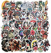 50-Pcs PVC Stickers Vinyl Old School Tattoo Laptop Car Decals Waterproof Sunlight-Proof Durable for Cars Motorbikes Luggage Skateboard Decor