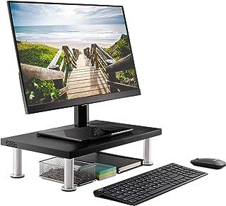 مانیتور ایستاده برای رایانه و لپ تاپ صفحه - جامد بامبو Riser پشتیبانی از سنگین ترین مانیتور ، چاپگر ، و تلویزیون - سازمان دهنده قفسه مناسب برای لوازم جانبی دفتر و غرفه تلویزیون (سیاه)