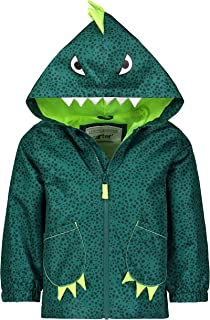 Carter`s Baby Boys` Critter Rainslicker Lightweight Rain Jacket, Green Dino, 3T