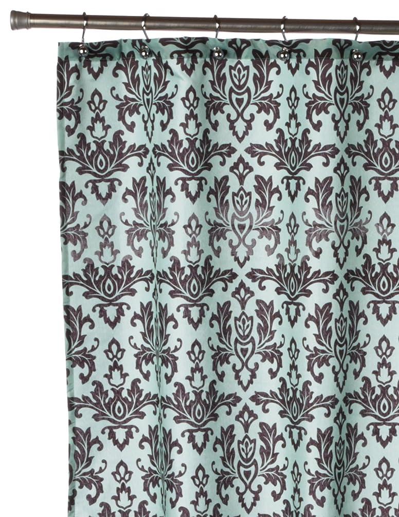 非効率的な定数抑止する(Brown) - Carnation Home Fashions FSCDAM-13 Damask 100% Polyester Fabric Shower Curtain - Brown-Blue