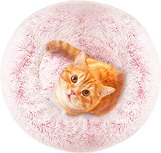Donut Cat Bed, Faux Fur Dog Beds for Medium Small Dogs - Self Warming Indoor Round Pillow Cuddler Pink & Tan