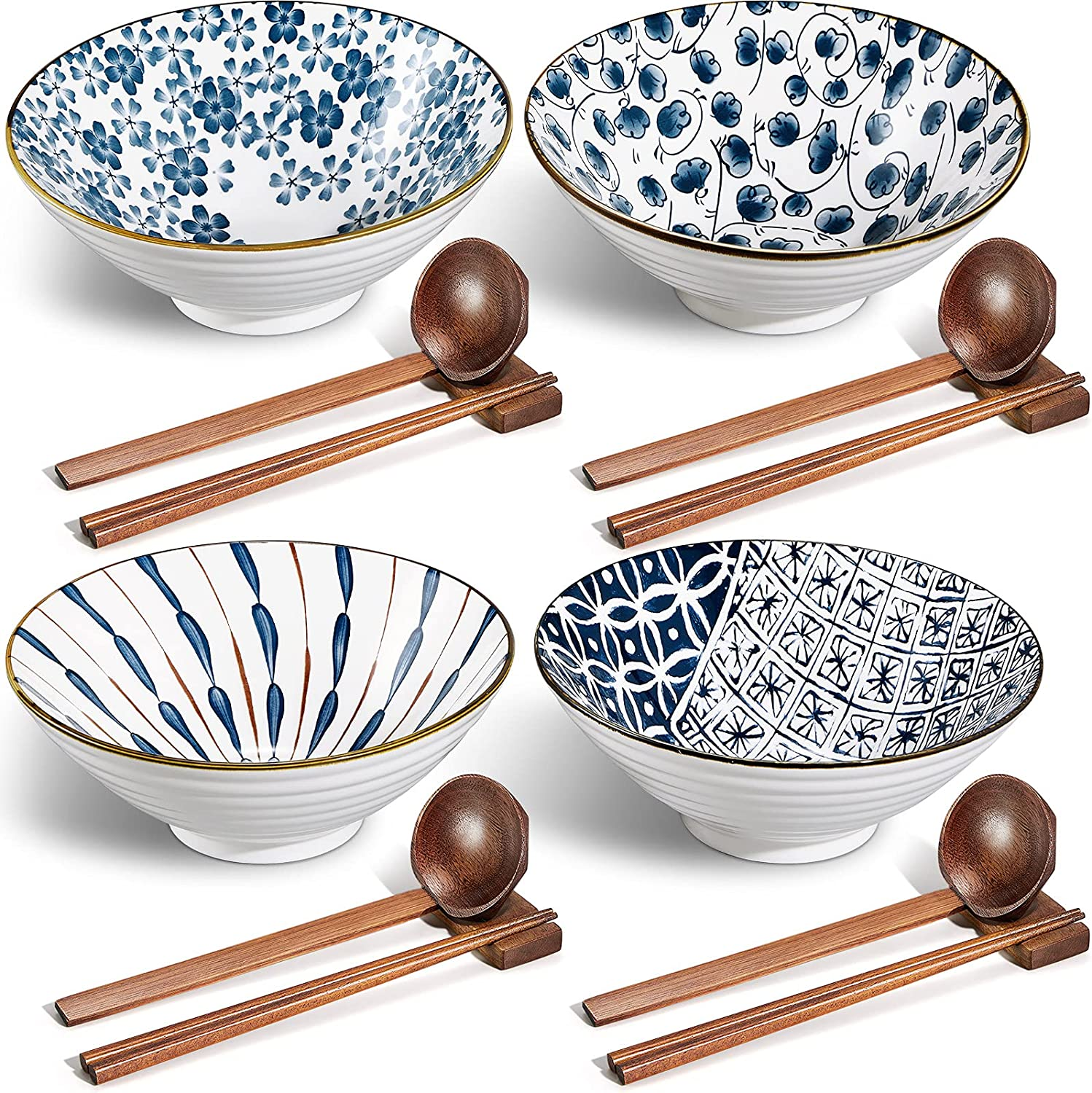 Ceramic Ramen Bowl 40 Limited Special Price oz Japanese Noodle with Large Daily bargain sale Bowls Spoon