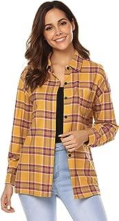 Women's Casual Tartan Long Sleeve Boyfriend Button Down Plaid Flannel Shirt Tops S-XXL