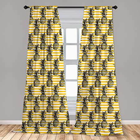Amazon Com Factory4me Pineapple Curtains Fruit Print Rod Pocket Room Darkening Drapes 84 Inches Long Window Panels Set Of 2 For Living Room Bedroom Kitchen Dining Room Gold Yellow White Home Kitchen