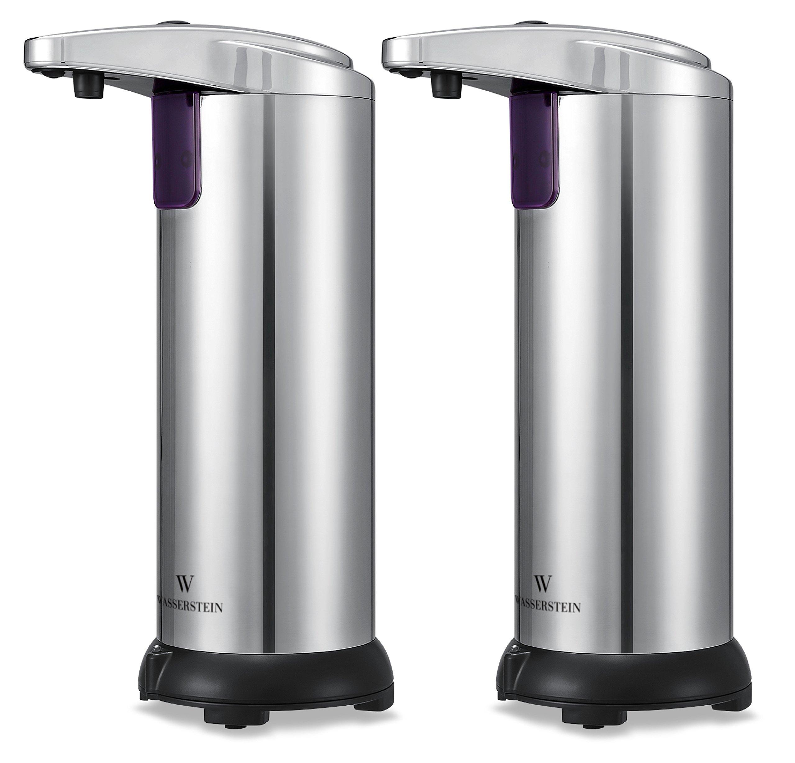 Wasserstein Seifenspender mit Infrarot-Sensor - aus Edelstahl und  wasserbeständig, EIN Basic für Bad und Küche, enthält Silikon-Trichter zur