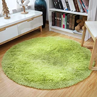 YJ.GWL Ultra Soft Round Green Area Rugs for Bedroom Anti-Slip Fluffy Kids Room Rug Cute Nursery Carpets Mat Home Decor 4 Feet