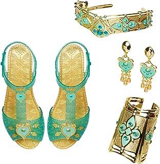 مجموعه لوازم جانبی سلطنتی Aladdin Disney Jasmine Deluxe ، شامل: کفش ، گوشواره ، دکمه سر و روسری