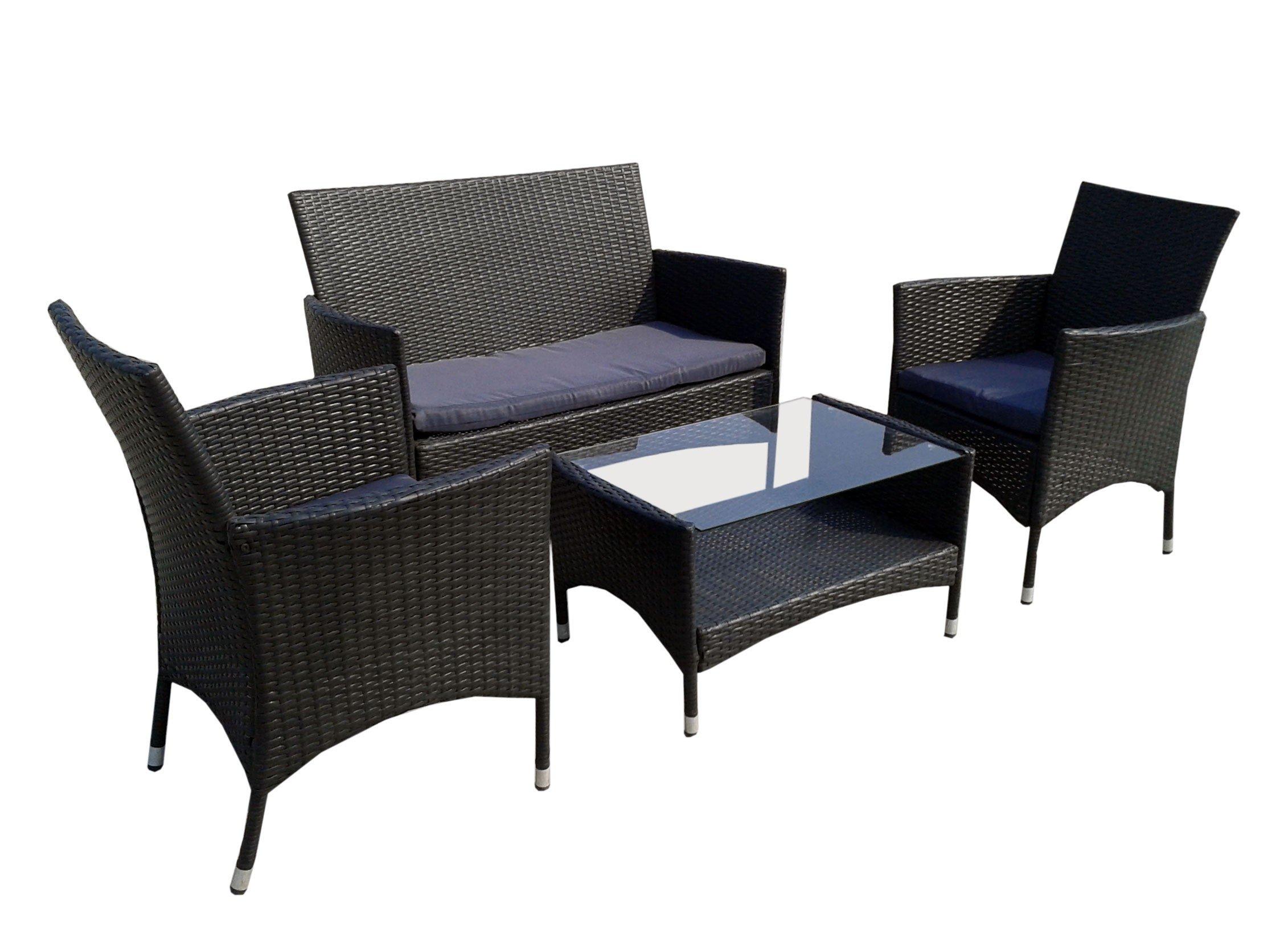 Set de mesa y sillas de jardín resina trenzada, 2 sillones-sofa mesa baja: Amazon.es: Jardín