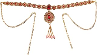 Latest Kundan Chakri Red Waist Kamarbandh for Women and Girls