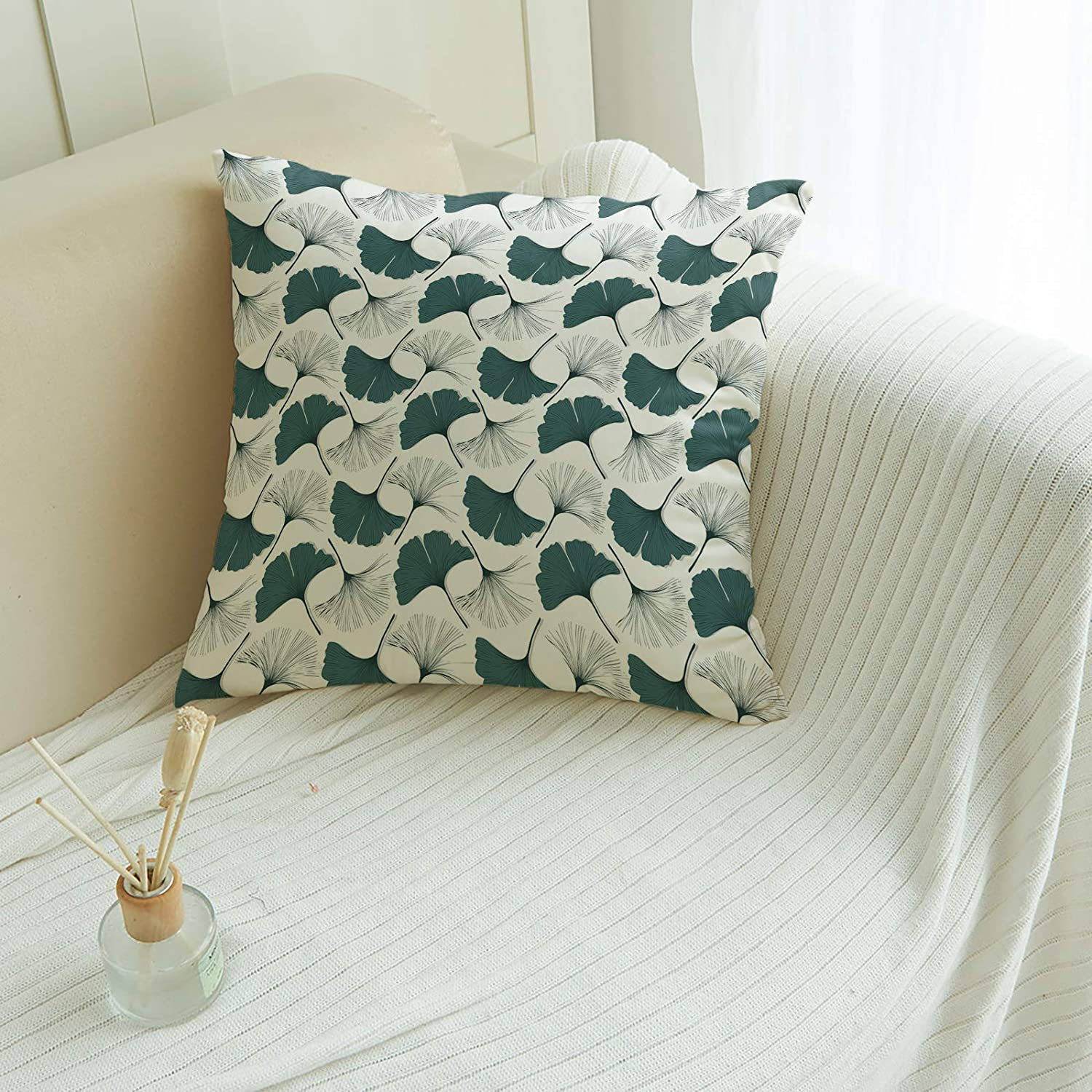 Throw Pillow Cover Spring Beautiful Ginkgo Textur Leaf Art Sale Green Be super welcome