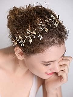 FXmimior Wedding Bridal Vintage Leaf Headband Headpiece Tiara Bride Hair Accessories (rose gold)