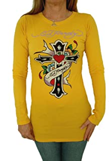 Yellow Long Sleeve Tunic Multi Color Crystal - Love Cross