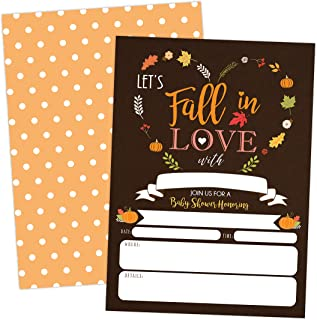 Pumpkin Fall in Love Baby Shower Invitations, Autumn Fall Leaves Invite, Neutral Burlap, 20 Fill in Style with Envelopes