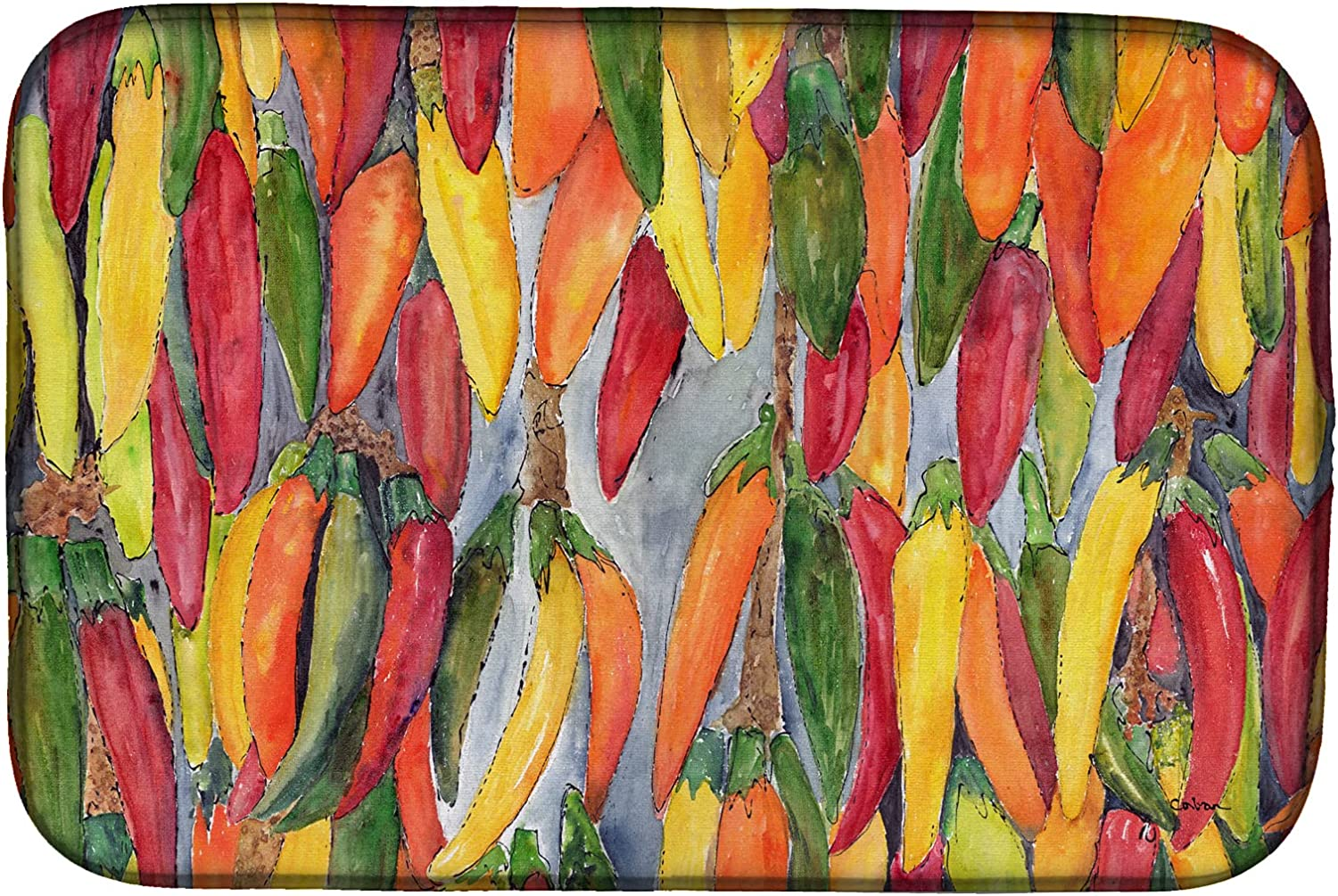 Caroline's Treasures 8893DDM New color Hot Peppers Dish Drying x 2 Mat 14 Excellence