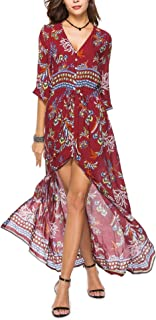 Floral Maxi Dress 2019 Robe Longue V-k Three Quarter Single Breasted Womens Summer Dresses Beach Big Swing