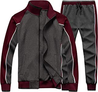 Men's Activewear Full Zip Warm Tracksuit Sports Set Casual Sweat Suit