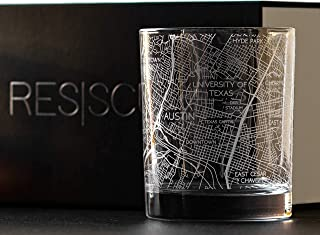 RESSCU Austin Map, Rocks Glasses Set of 2, Unique Gifts, College Town Etched Glasses