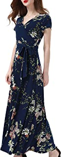 Aphratti Women's Bohemian Casual Short Sleeve V Neck Faux Wrap Floral Maxi Dress